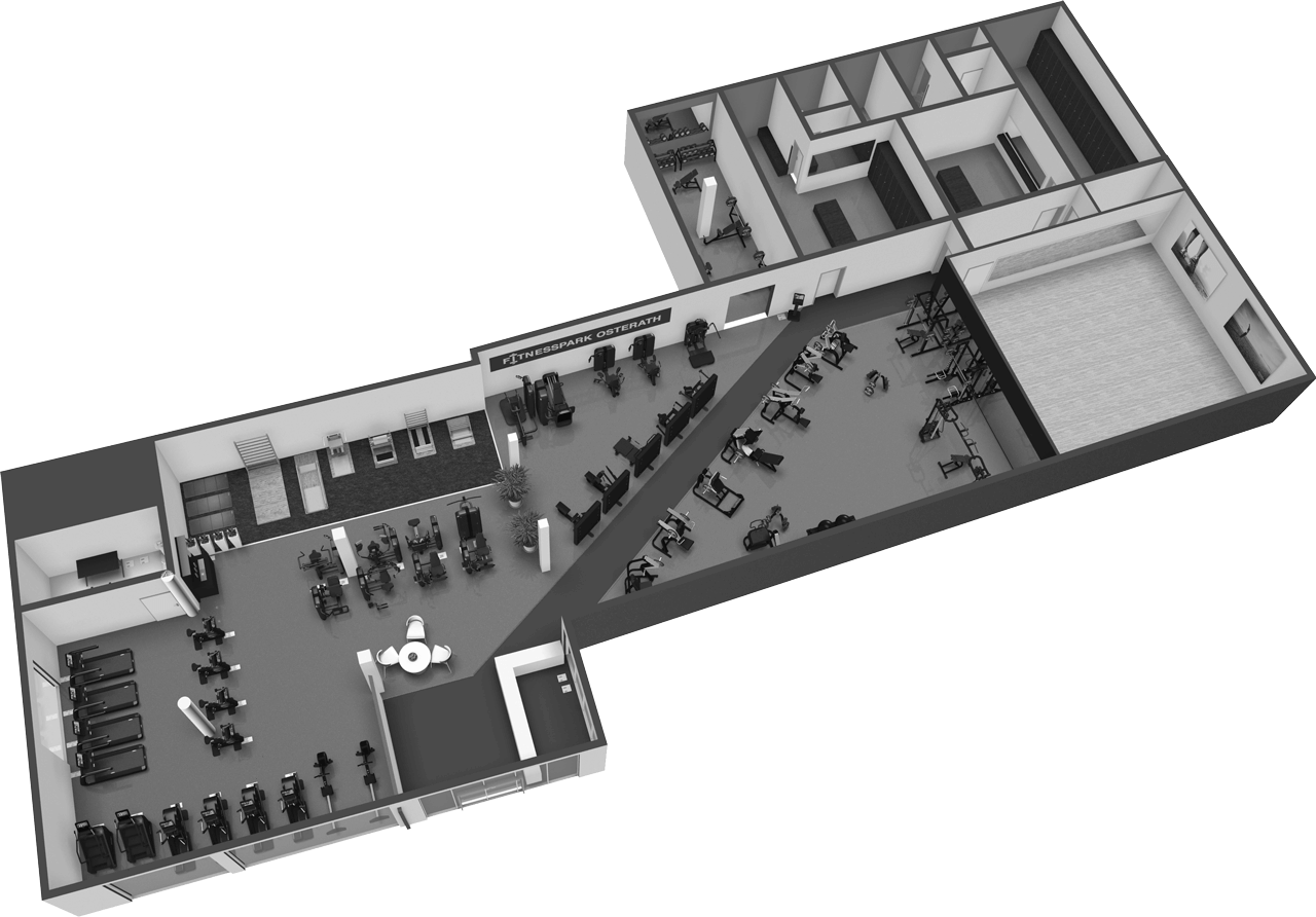 3D Grundriss Fitnessstudio Osterath